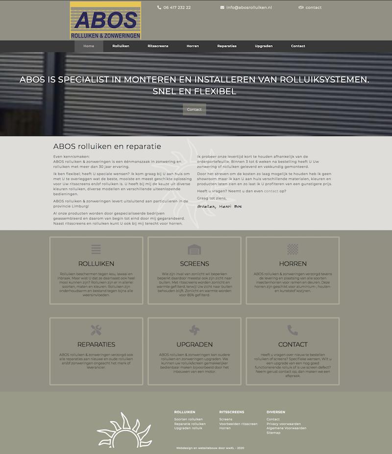 Websiteontwerp en website bouw door wwXL van ABOS rolluiken